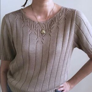 Vintage Pointelle Knit Ribbed Sweater
